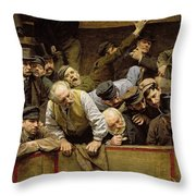 The Cockfight Throw Pillow by Remy Cogghe