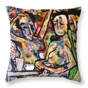 The Coffee Shop Throw Pillow by Chaline Ouellet