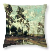 The Colliers' Hut In The Forest Of Fontainebleau Throw Pillow