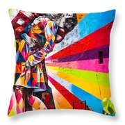 The Colorful Kiss Throw Pillow