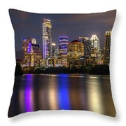 The Colorful Neon Lights On The Austin Skyline Shine Bright Throw Pillow