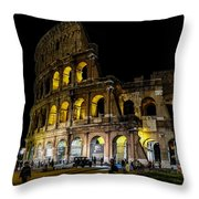 The Colosseum In Rome At Night Throw Pillow