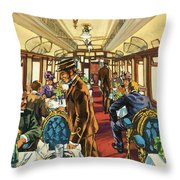 The Comfort Of The Pullman Coach Of A Victorian Passenger Train Throw Pillow