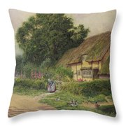 The Coming Of The Haycart  Throw Pillow by Arthur Claude Strachan