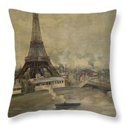 The Construction Of The Eiffel Tower Throw Pillow by Paul Louis Delance