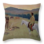 The Conversation Throw Pillow by Frederic Remington