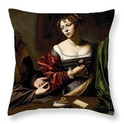 The Conversion Of The Magdalene Throw Pillow by Michelangelo Merisi da Caravaggio