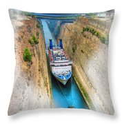 The Corinth Canal  Throw Pillow