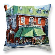 The Corner Market Throw Pillow