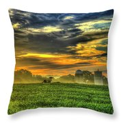 The Cornfield Dawn The Iron Horse Collection Art  Throw Pillow