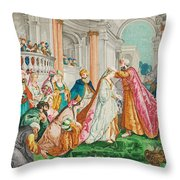 The Coronation Of Esther Throw Pillow