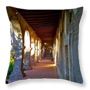 The Corridor By The Serra Chapel San Juan Capistrano Mission California Throw Pillow