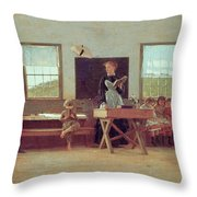 The Country School Throw Pillow by Winslow Homer