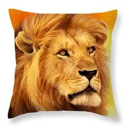 The Courageous Cecil - African Lion Throw Pillow