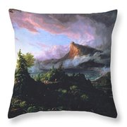 The Course Of Empire - The Savage State Throw Pillow by Thomas Cole
