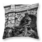 The Court Of Neptune Fountain In Black And White Throw Pillow