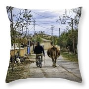 The Cow Herder Throw Pillow