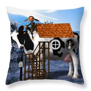 The Cow House Throw Pillow