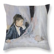The Cradle Throw Pillow by Berthe Morisot