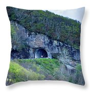The Craggy Pinnacle Tunnel On The Blue Ridge Parkway In North Ca Throw Pillow