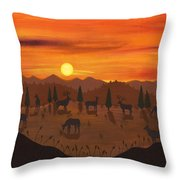 The Creatures All Roamed - Illustration #11 In The Infinite Song Throw Pillow