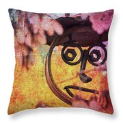 The Creepy All Seeing Bolted Dude Throw Pillow