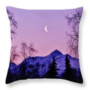 The Crescent Moon In Lavender Throw Pillow