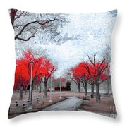 The Crimson Trees Throw Pillow