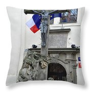 The Cross And Flags Throw Pillow