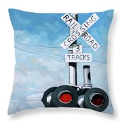 The Crossing - Train Signals Throw Pillow