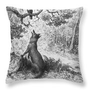 The Crow And The Fox Throw Pillow