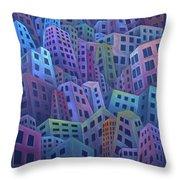 The Crowded City Throw Pillow