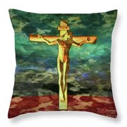The Crucific Pop Art By Mary Bassett Throw Pillow