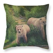 The Cubs Of Katmai Throw Pillow