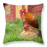 The Curious Cock And The Jealous Hen In The Mystery Of The Black Feather Throw Pillow
