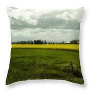 The Curve Of A Mustard Crop Throw Pillow