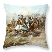 The Custer Fight Throw Pillow