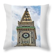The Customs House Clock Tower Boston Throw Pillow