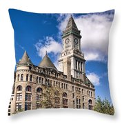 The Customs House Clock Tower Throw Pillow
