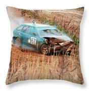The Damaged Car In A Smoke Throw Pillow