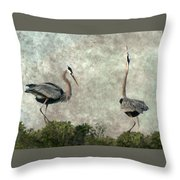 The Dance Of Life - Great Blue Herons In Mating Ritual - Digital Painting Throw Pillow
