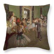 The Dancing Class Throw Pillow by Edgar Degas