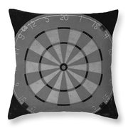 The Dart Board In Black And White Throw Pillow