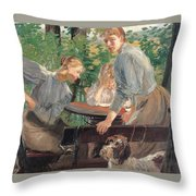 The Daughters Of The Artist In The Garden Throw Pillow