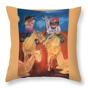 The Day The Tourists Came Throw Pillow