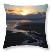 The Days Last Rays At Dunraven Bay Wales Throw Pillow