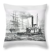 The Days Of Steam And Sail Throw Pillow