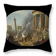The Death Leap Of Marcus Curtius Throw Pillow