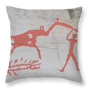 The Deer And Female Hunter Throw Pillow