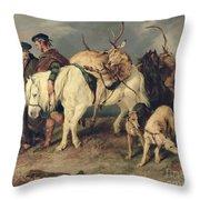 The Deerstalkers Return Throw Pillow by Sir Edwin Landseer